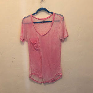Z Supply Hot Pink V-Neck T-shirt